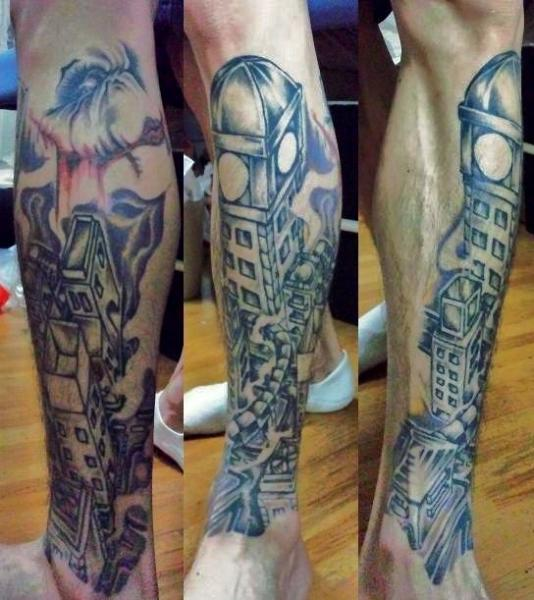 Leg Landscape City Tattoo by Koji Tattoo