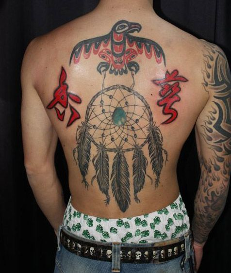 Back Dreamcatcher Tattoo by South Dragon Tattoo
