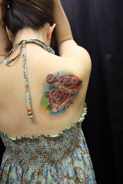 Flower Lettering Back Tattoo by South Dragon Tattoo