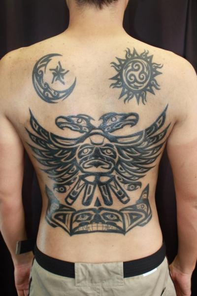 Tatouage Retour Tribal Maya Soleil Lune Par South Dragon Tattoo