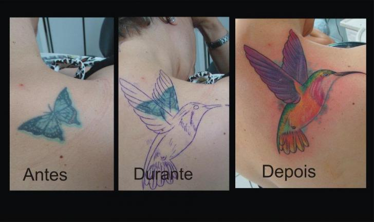 Back Bird Cover-up Tattoo by Brasil Tatuagem
