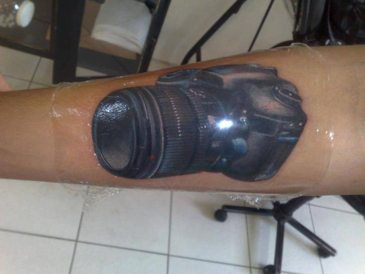 Arm Realistic Camera Tattoo by Hell Tattoo