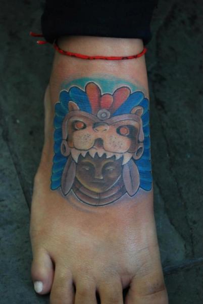 Foot Maya Tattoo by Hell Tattoo
