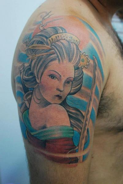 Shoulder Japanese Geisha Tattoo by Hell Tattoo
