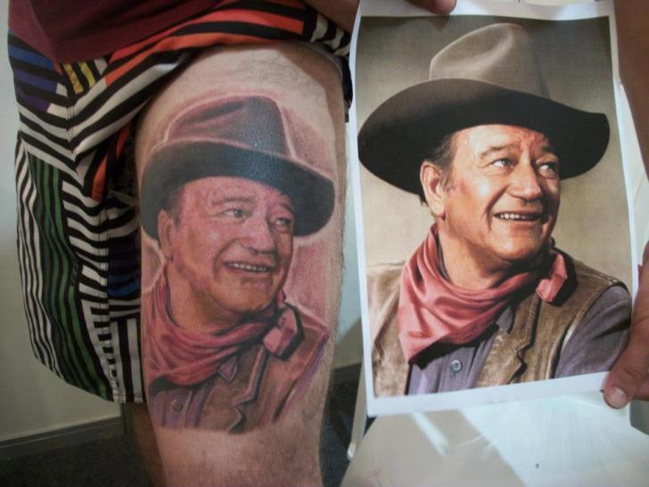 Shoulder Realistic John Wayne Tattoo by Hell Tattoo