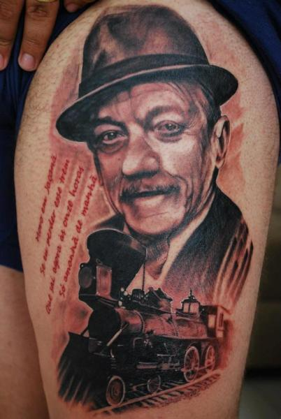Shoulder Portrait Realistic Train Tattoo by Hell Tattoo