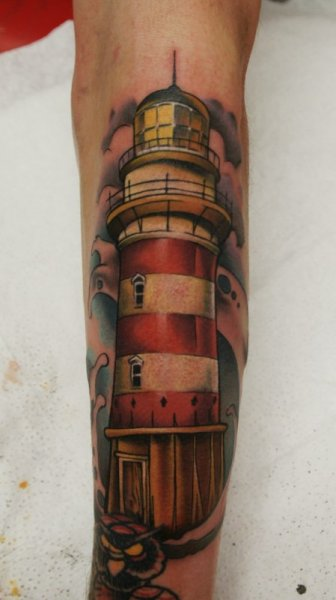 Arm Realistic Lighthouse Tattoo by Art n Style