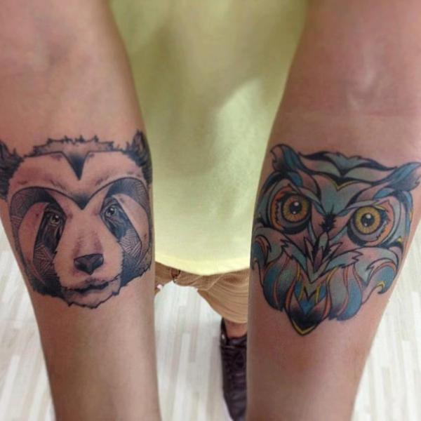 Tatuaje Brazo Búho Panda por Leds Tattoo