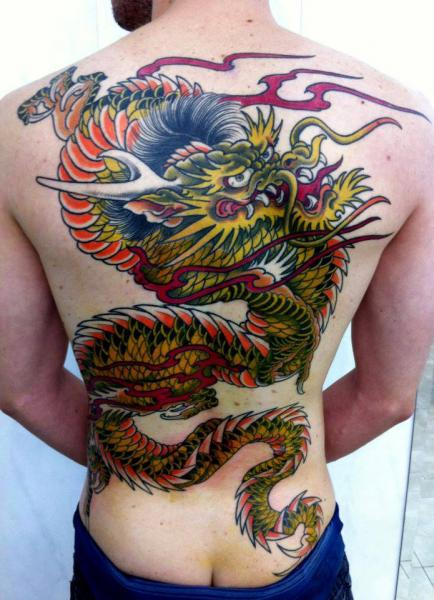 Back Dragon Tattoo by Leds Tattoo