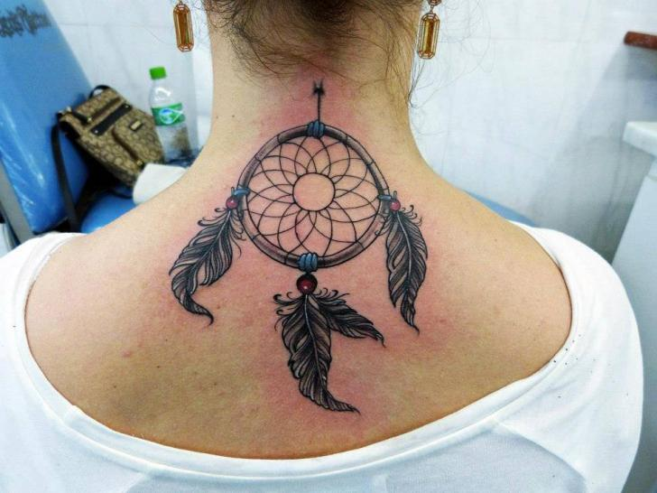 Neck Dreamcatcher Tattoo by Leds Tattoo