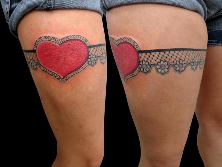 Heart Thigh Garter Tattoo by Leds Tattoo