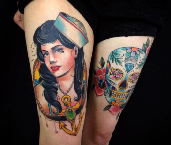New School Old School Skull Women Mariner Thigh Tattoo by Leds Tattoo