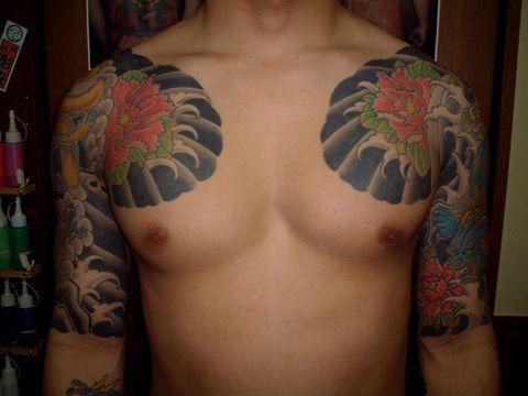 Arm Chest Flower Japanese Tattoo by Tattoo Studio Shangri-La