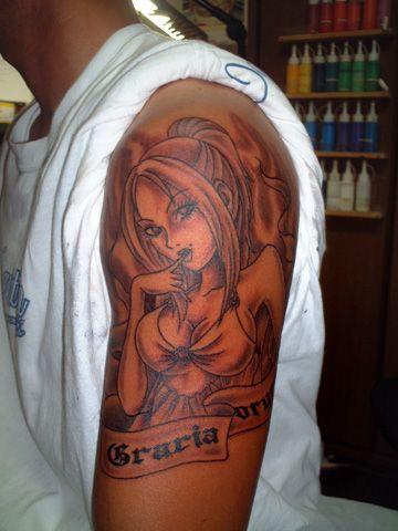 Tatuaje Hombro Fantasy Mujer por Tattoo Studio Shangri-La