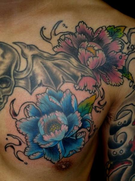 Chest Flower Japanese Tattoo by Tattoo HM