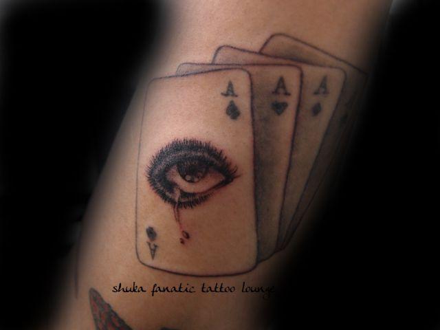 Arm Eye Ace Card Tattoo by Tattoo Irezumi