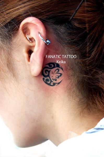 Tribal Head Moon Tattoo by Tattoo Irezumi