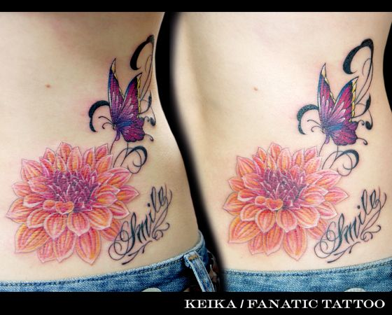 Flower Side Butterfly Tattoo by Tattoo Irezumi
