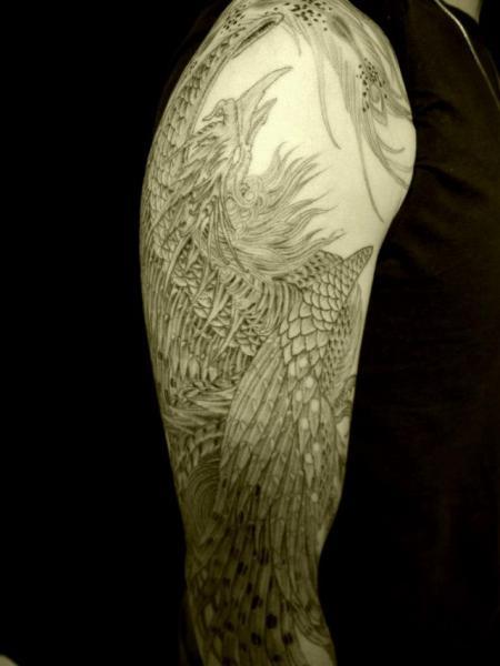 Shoulder Arm Phoenix Tattoo by Wizdom Tattoo
