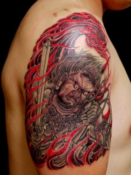 Shoulder Japanese Demon Tattoo by Wizdom Tattoo