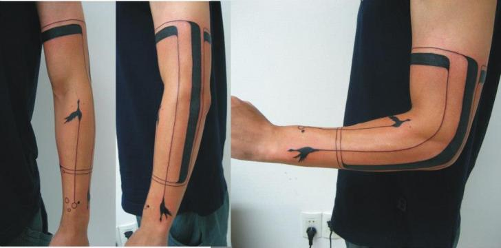 Tatouage Bras Geometrique Oiseau Ligne Par Tattoo Br