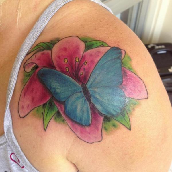 Shoulder Flower Butterfly Tattoo by Tattoo Br