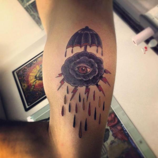 Arm Old School Cloud Tattoo by Tattoo Loyalty