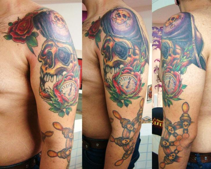Arm Skull Rudder Pirate Tattoo by Tattoo Loyalty