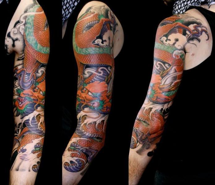 arm japanische drachen tattoo von nico tattoo crew. Black Bedroom Furniture Sets. Home Design Ideas