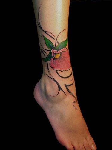Foot Leg Flower Tattoo by Nico Tattoo Crew