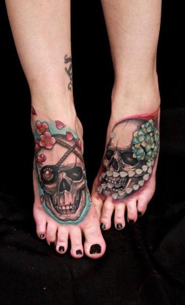 Foot Skull Tattoo by Nico Tattoo Crew
