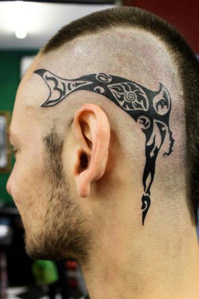 Tribal Head Tattoo by Nico Tattoo Crew