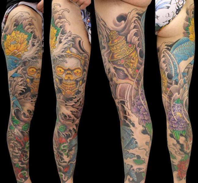 Leg Japanese Tattoo by Nico Tattoo Crew