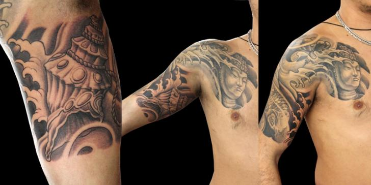 Shoulder Chest Japanese Tattoo by Nico Tattoo Crew
