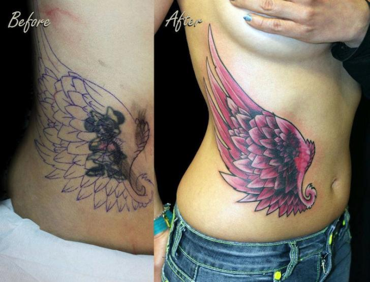 Side Wings Cover-up Tattoo by Nico Tattoo Crew