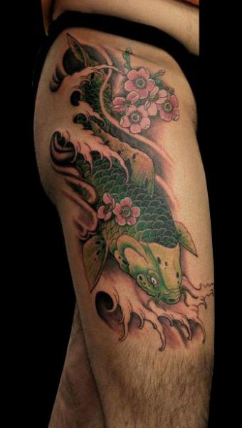 Japanese Carp Koi Thigh Tattoo by Nico Tattoo Crew