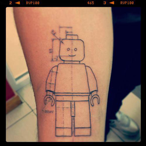 Arm Draw Lego Tattoo by Sake Tattoo Crew