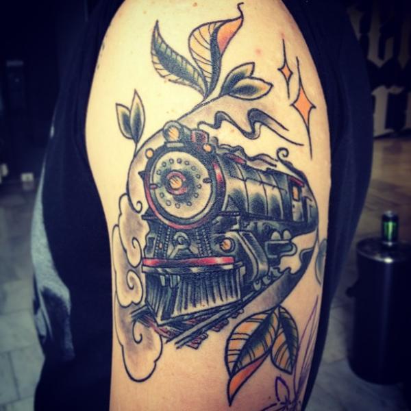 Arm Train Tattoo by Sake Tattoo Crew