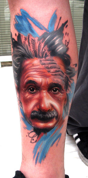 Realistic Calf Einstein Tattoo by Sake Tattoo Crew