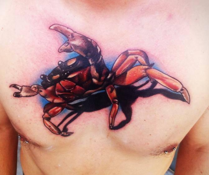 Chest Crab Tattoo by Sake Tattoo Crew