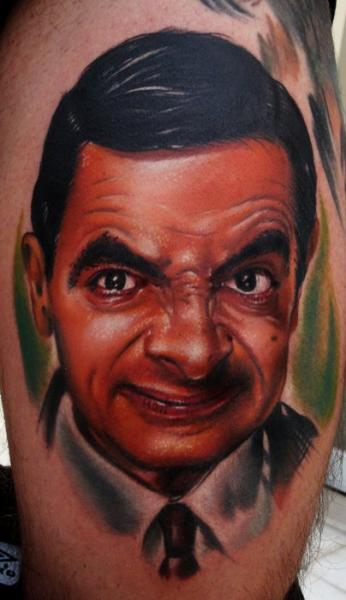 Realistic Chest Mr Bean Tattoo by Sake Tattoo Crew