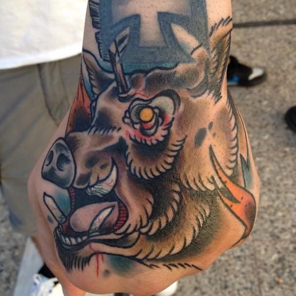 New School Hand Tattoo by Sake Tattoo Crew