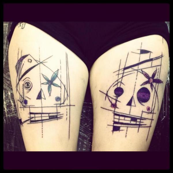 Fantasy Leg Skull Draw Tattoo by Sake Tattoo Crew