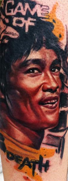 Realistic Bruce Lee Tattoo by Sake Tattoo Crew