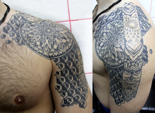 Shoulder Geometric Tattoo by Sake Tattoo Crew