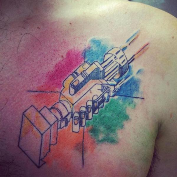 Shoulder Robot Tattoo by Sake Tattoo Crew