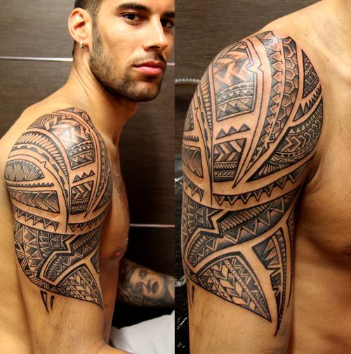 Shoulder Tribal Tattoo by Sake Tattoo Crew