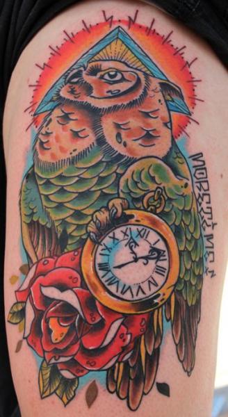 Clock Old School Owl Thigh Tattoo by Sake Tattoo Crew