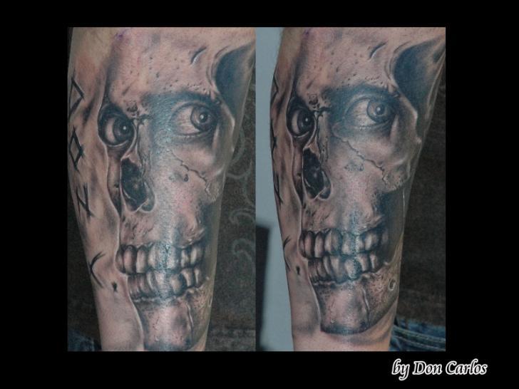 Arm Fantasy Skull Tattoo by Baltic Tattoo