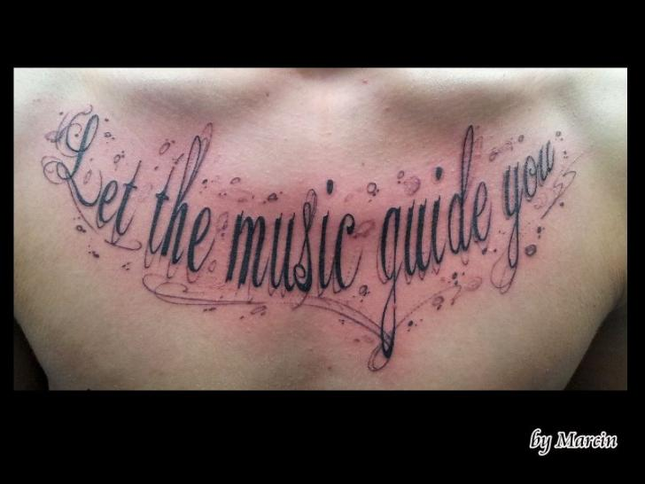 Chest Lettering Tattoo by Baltic Tattoo